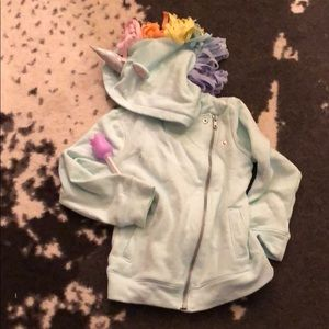 Zip up sweatshirt with amazing unicorn hood!